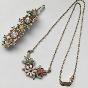 Vintage Necklace & Hairpin 2-Piece Set